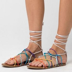 Madden Girl Starla Rainbow Lace Up Sandals